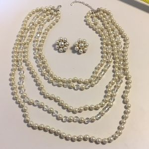 Cezanne 5-strand pearls and cluster clip earrings